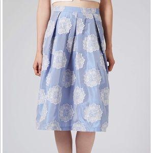 Topshop Midi Skirt Antique Jacquard in Cornflower